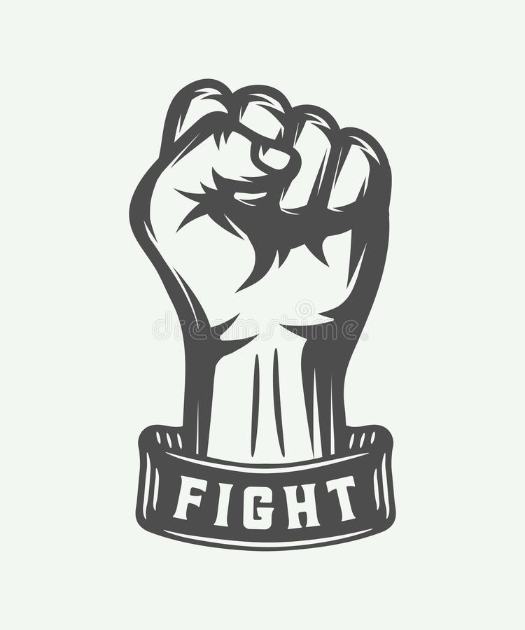 Retro fist in vintage style with typography. Graphic art. royalty free illustration