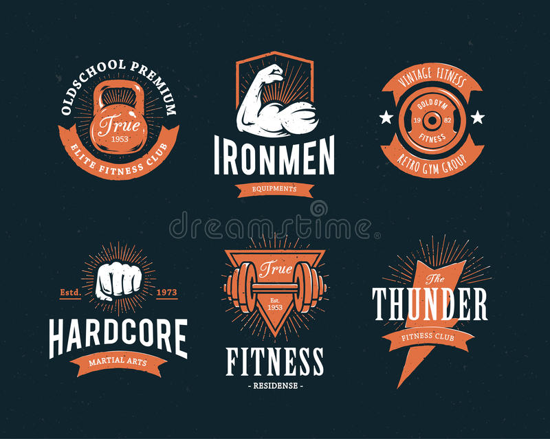 Retro Fitness Emblems stock illustration