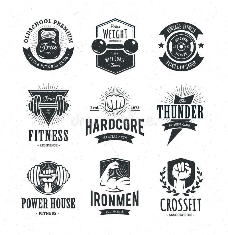 Retro Fitness Emblems vector illustration