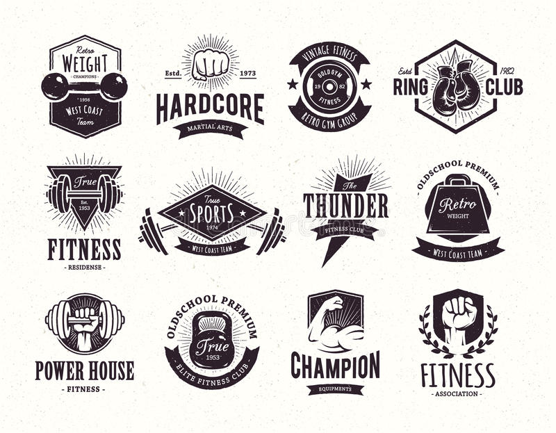 Retro Fitness Emblems royalty free illustration