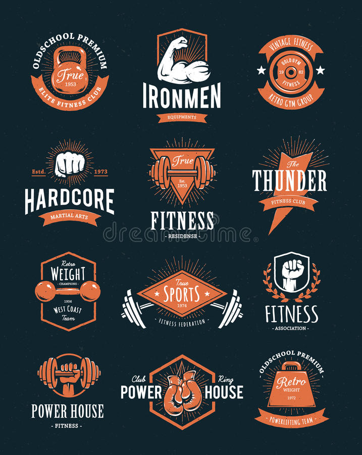 Retro Fitness Emblems. Set of retro styled fitness emblems. Vintage gym logo templates. Vector illustrations royalty free illustration