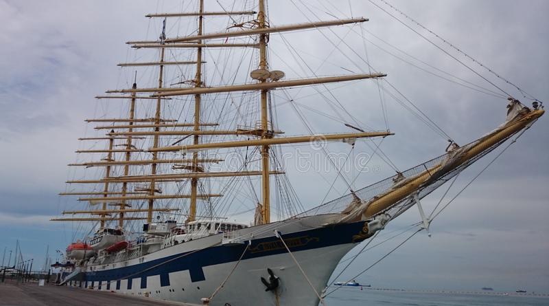 Retro five sails tourist ship stock images