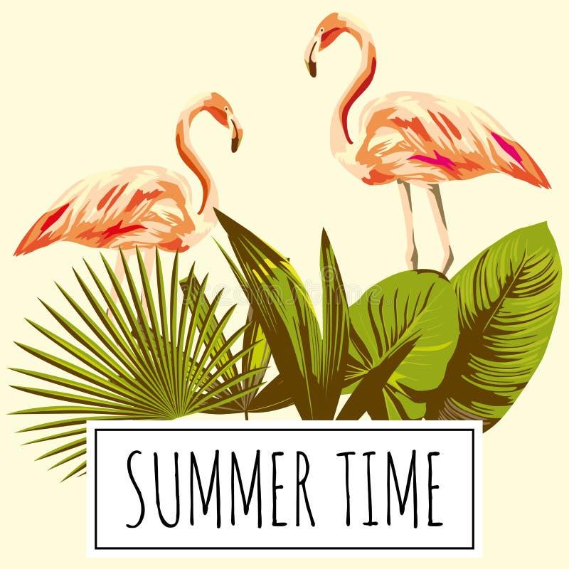 Retro flamingo van de tijd de tropische bladeren van de sloganzomer, wijnoogst stock illustratie