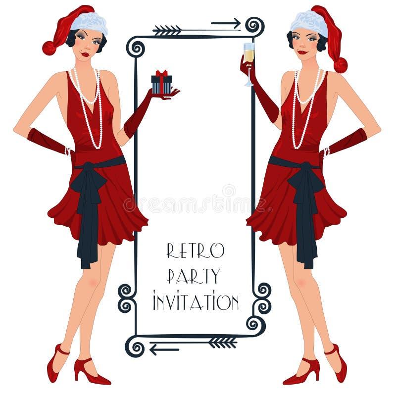 Retro flappper christmas girl stock illustration