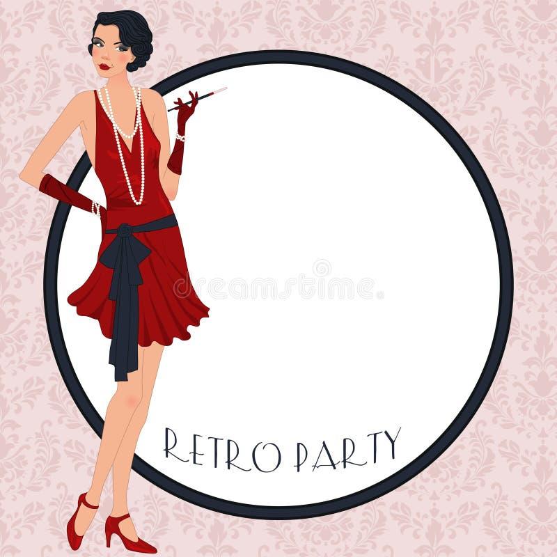 Retro flappper girl royalty free illustration