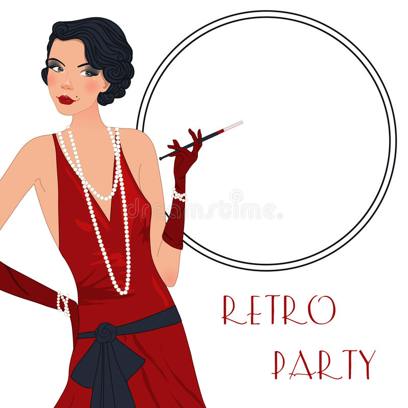 Retro flappper girl stock illustration