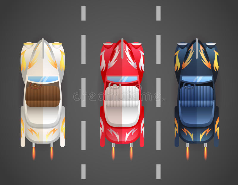 Retro Flat Cars Cabriolet Top vector illustration