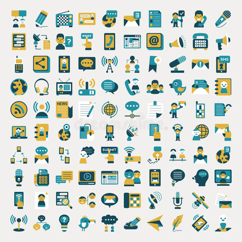 Download Retro Flat Communication Icons Set Stock Vector - Image: 36400038