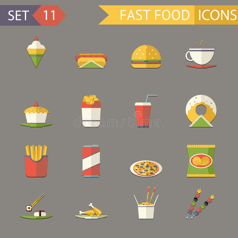Retro Flat Fast Food Icons and Symbols Set Vector Illustration royalty free illustration
