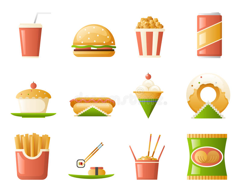 Retro Flat Fast Food Icons and Symbols Set Vector Illustration. Retro Flat Fast Icons Food symbols Set Vector Illustration vector illustration