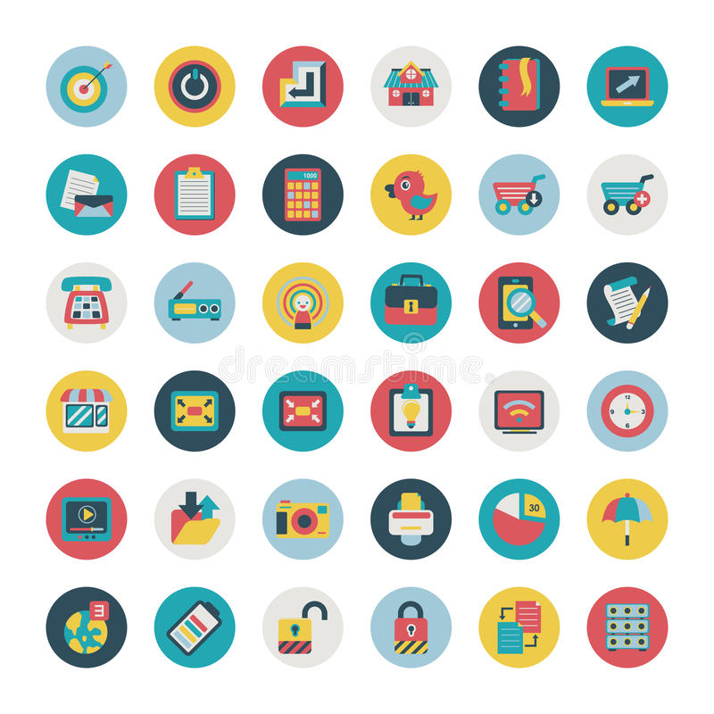 Download Retro Flat  Network Icons Vector Collection Royalty Free Stock Images - Image: 35313389