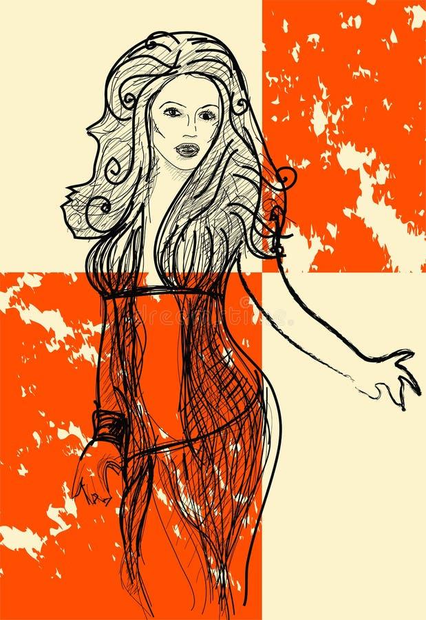 retro flicka royaltyfri illustrationer