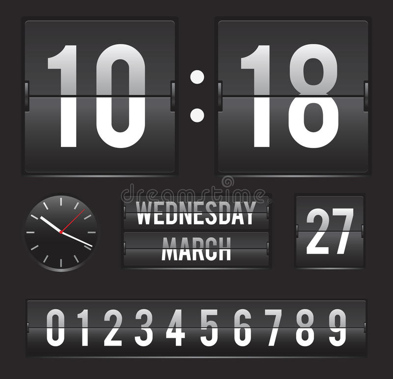 Download Retro Flip Clock With Date And Dual Timer Stock Vector - Image: 29996562
