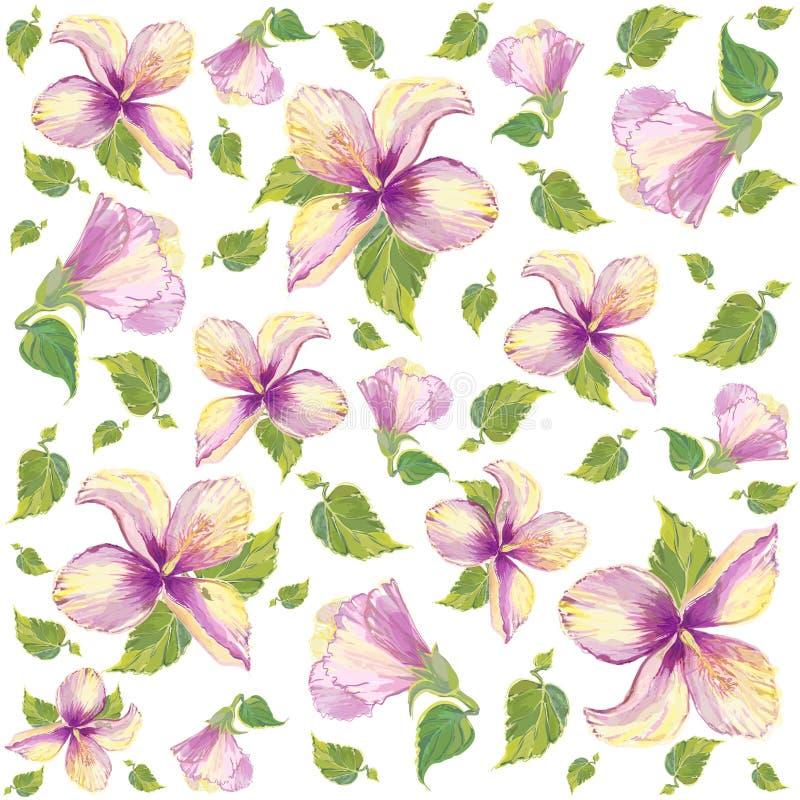 Retro floral background. Hibiscus. vector illustration
