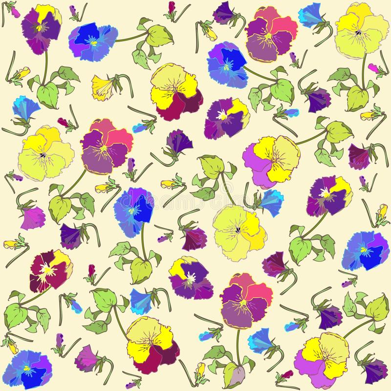 Download Retro Floral Background. Pansies Royalty Free Stock Images - Image: 17644969