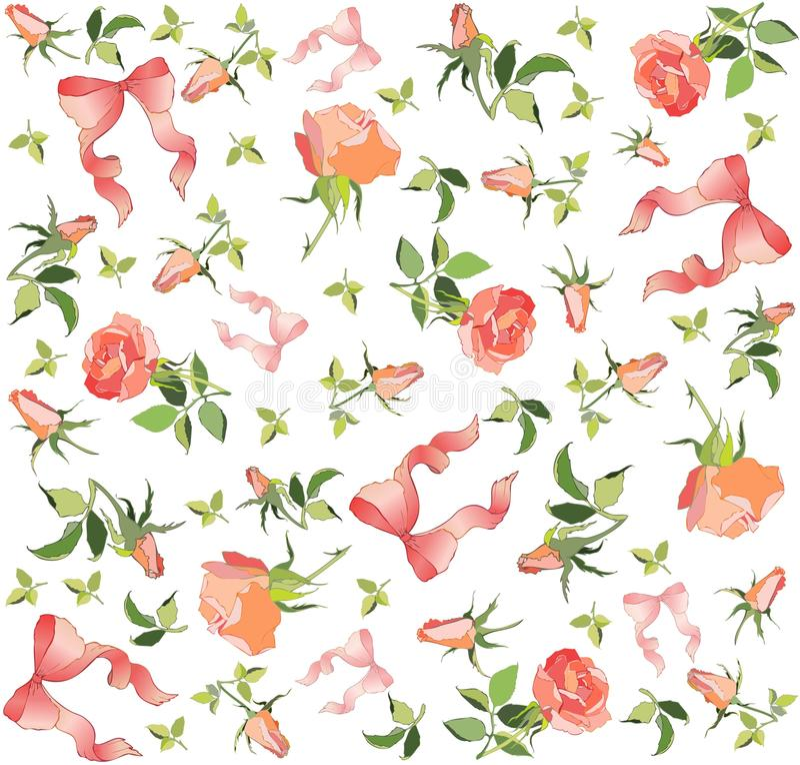Retro floral background. Rose, bow. stock illustration