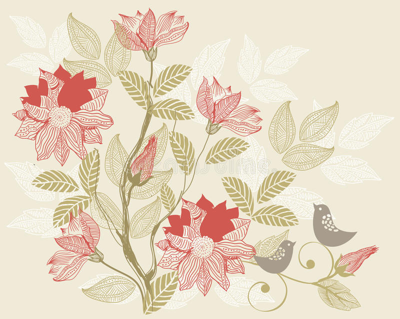 Retro floral background in vector stock illustration