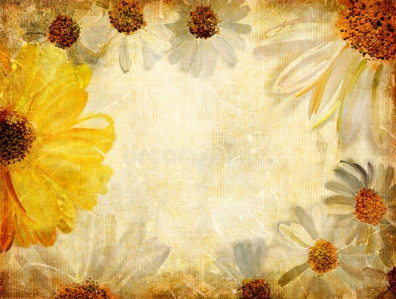 Retro floral frame stock illustration