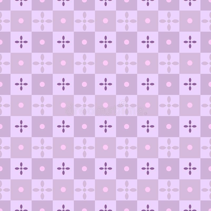 Retro floral pattern, lilac, purple, pink, seamless vintage style geometric flower. Illustration for summer fashion prints, trendy royalty free illustration