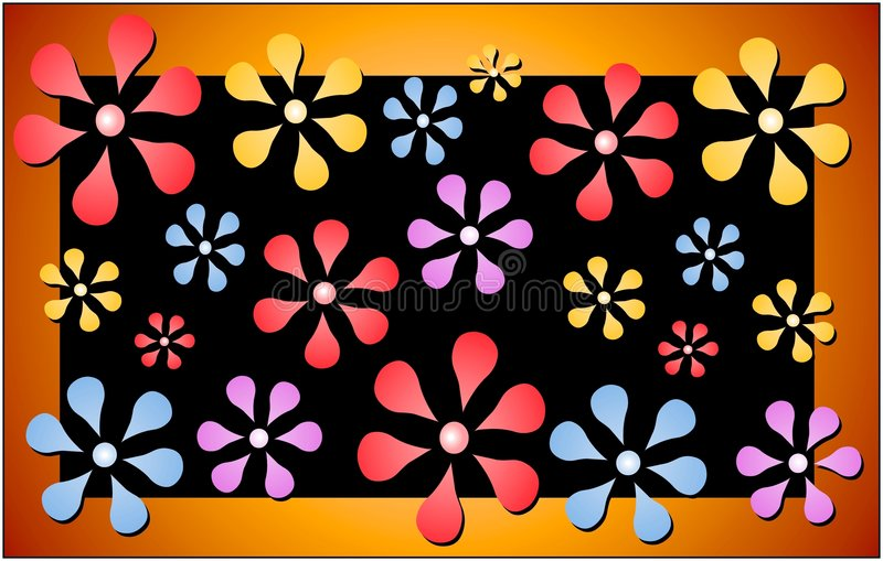 Retro Floral Pattern Print. An abstract flower background with black background and gold border stock illustration