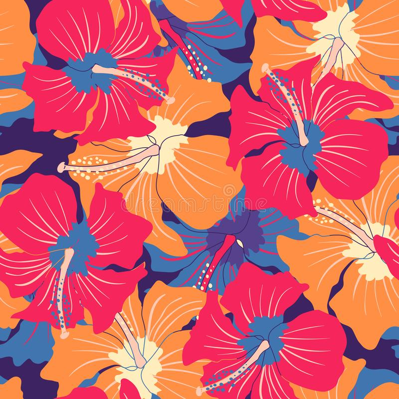 Free Retro Floral Pattern With Hibiscus Stock Photo - 139064680