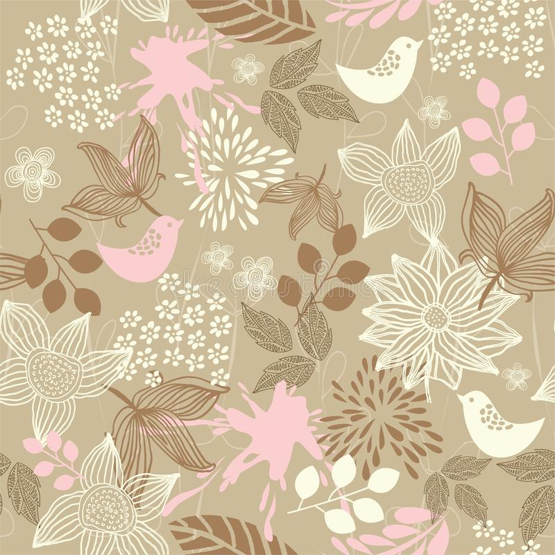 Retro floral seamless background invec with birds vector illustration