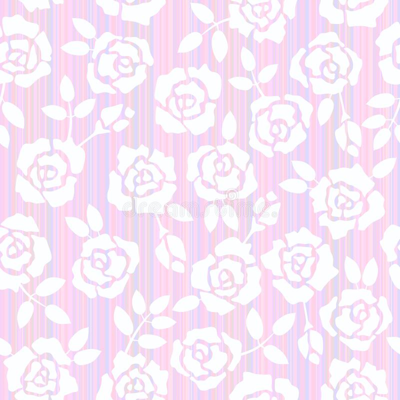 Retro floral seamless background with roses. Illustration bitmap. 2d Wallpaper stock illustration