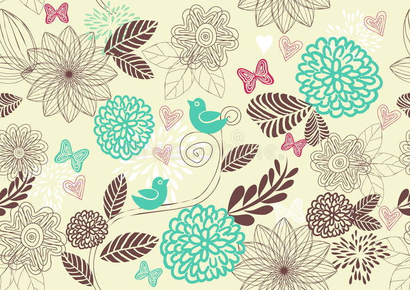 retro floral seamless background in vector vector illustration
