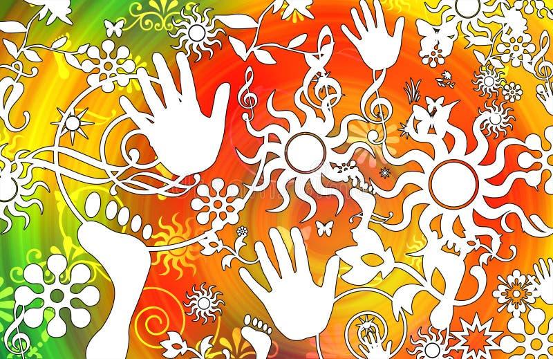 Download Retro Floral And Sun Design Stock Illustration - Image: 7494902