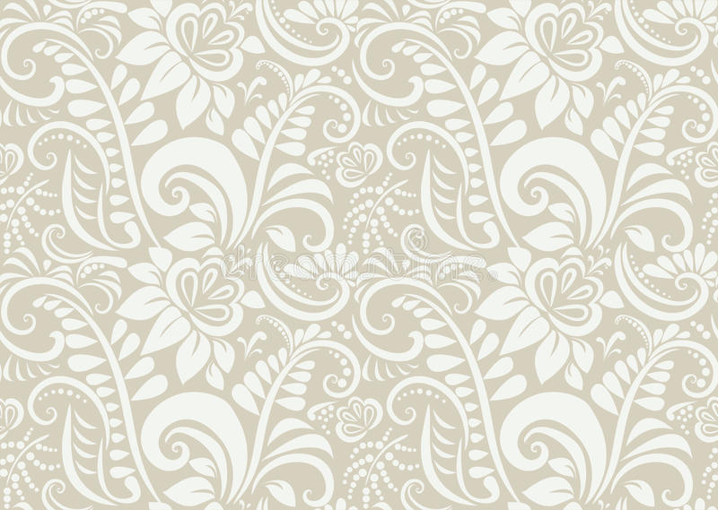 Retro floral wallpaper. Seamless royalty free illustration