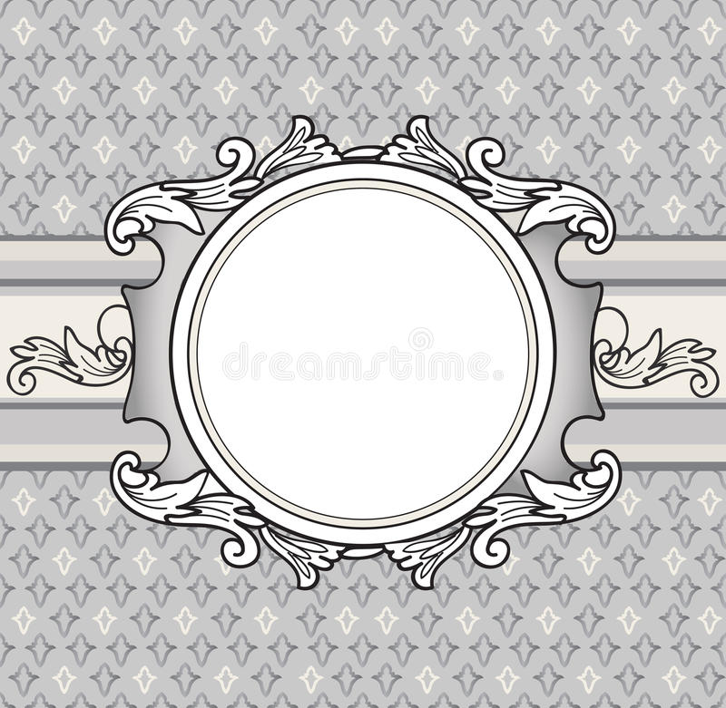 Frame Over French Lily Background Veniette Border Decorative Card Geometric Abstract Seamless Pattern