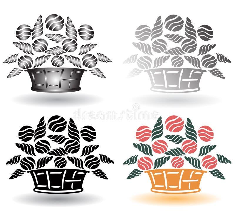 Download Retro flower basket stock vector. Image of background - 16302432