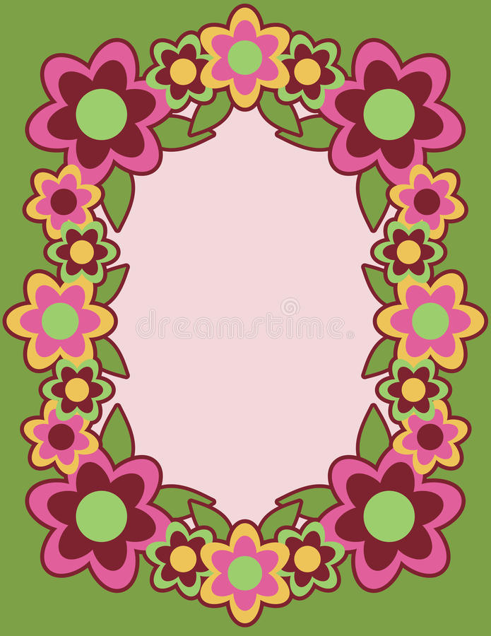 Download Retro Flower Frame_Green Stock Image - Image: 10231671