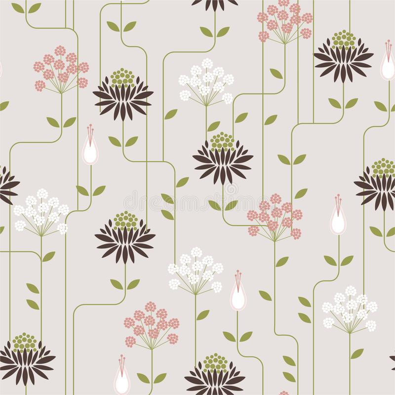 Retro Flower geometric pattern with line . Seamless vector background.Ornament design for fashion fabric,web,wallpaper amd all. Prints on light grey background stock illustration