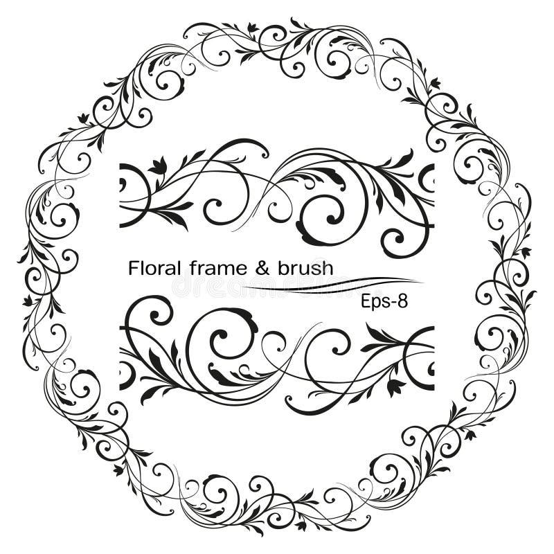 Retro flower pattern antique style swirl decorative design element. Vintage frame border leaf scroll floral ornament. Engraving black and white filigree vector vector illustration