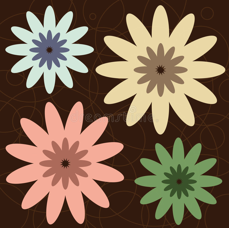 Retro Flowers stock photo