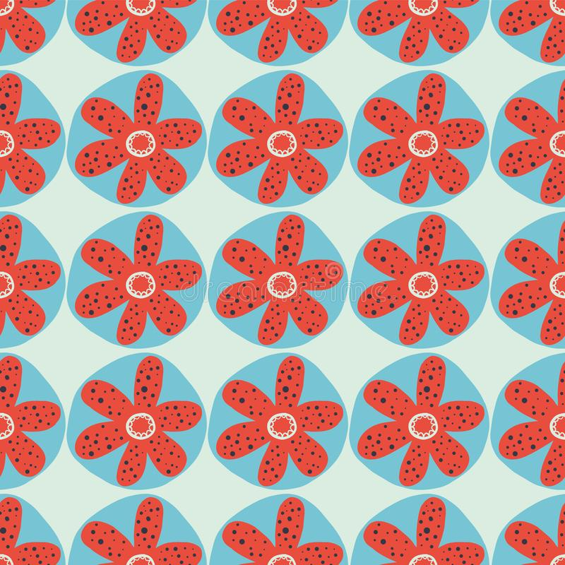 Retro flowers seamless vector background. 1960s, 1970s floral design. Red and blue doodle flowers on a blue background. Distressed stock illustration
