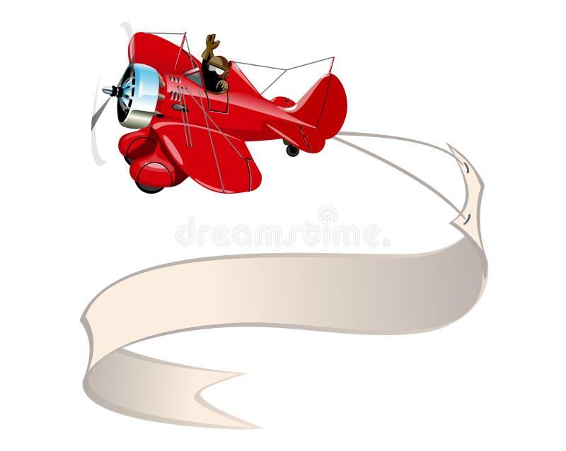 Retro- Flugzeug der Karikatur mit Fahne vektor abbildung