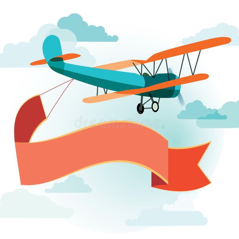 Retro flygplan med ett baner royaltyfri illustrationer