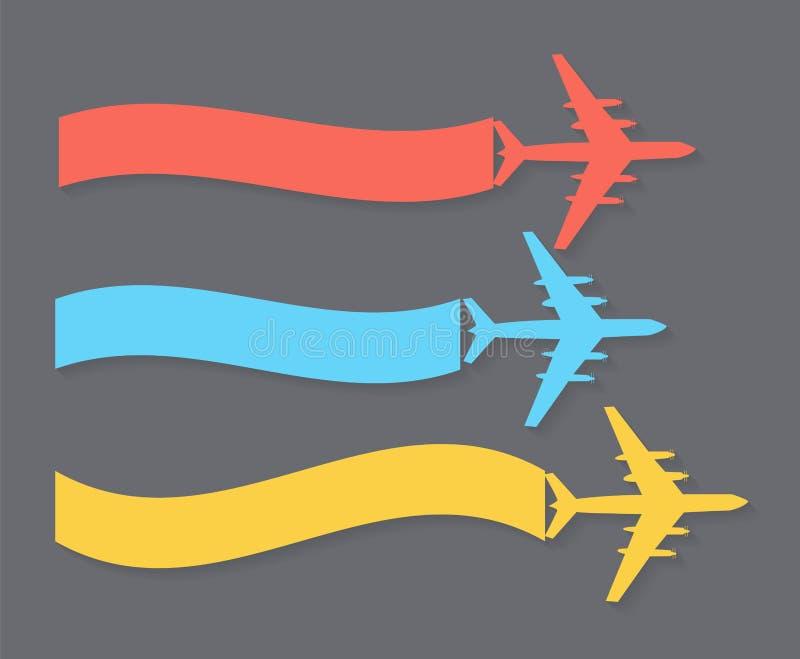Retro flygplanbaner också vektor för coreldrawillustration vektor illustrationer
