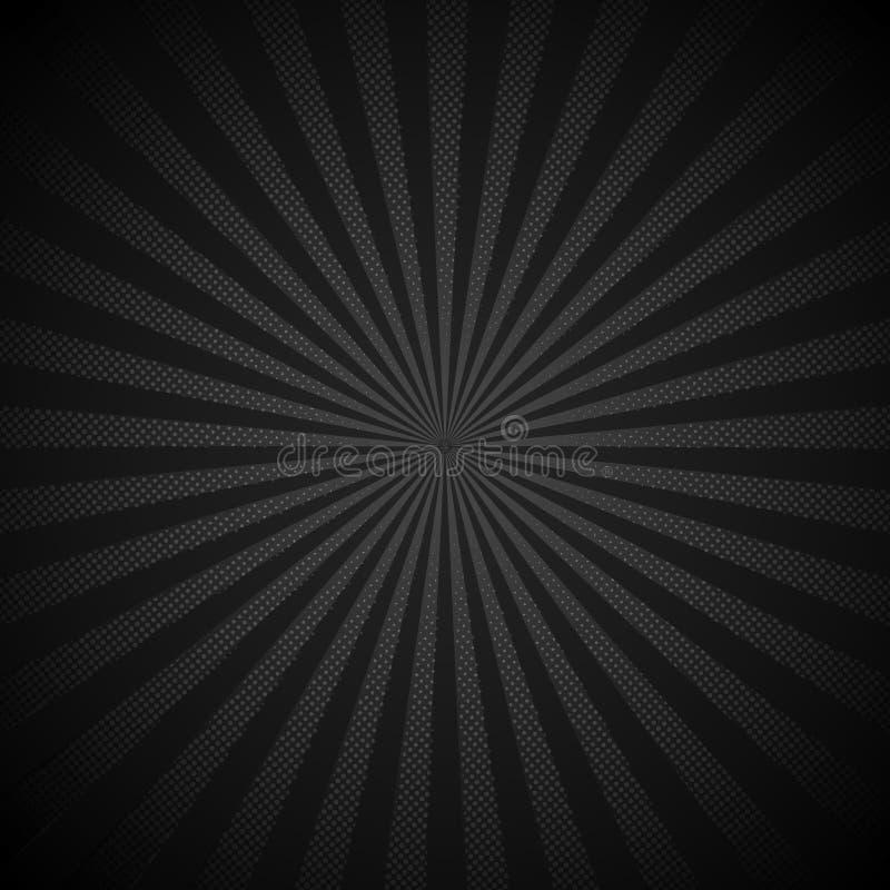 Retro fondo brillante del nero dello starburst di Absrtract con stile di semitono di struttura del modello di punti Contesto d'an royalty illustrazione gratis