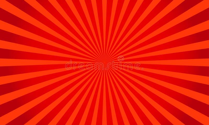 Retro fondo brillante rosso dello starburst Struttura astratta dello sprazzo di sole Illustrazione di vettore fotografie stock libere da diritti