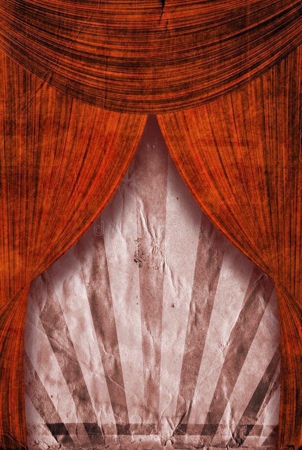 Retro fondo del manifesto del raggio di sole di rinascita dietro le tende rosse royalty illustrazione gratis