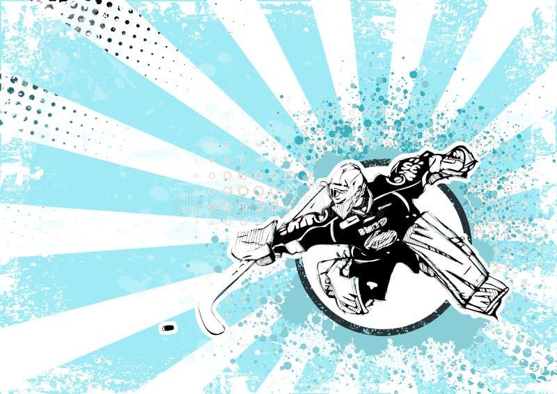Retro fondo del manifesto dell'hockey su ghiaccio illustrazione di stock