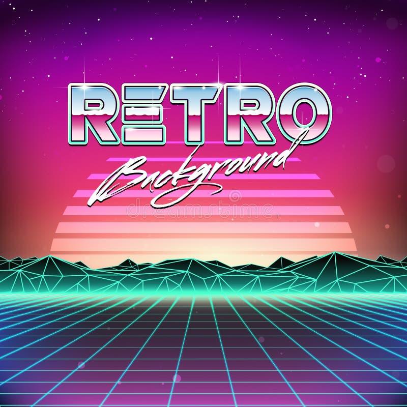 retro fondo di fantascienza di futurismo 80s illustrazione vettoriale