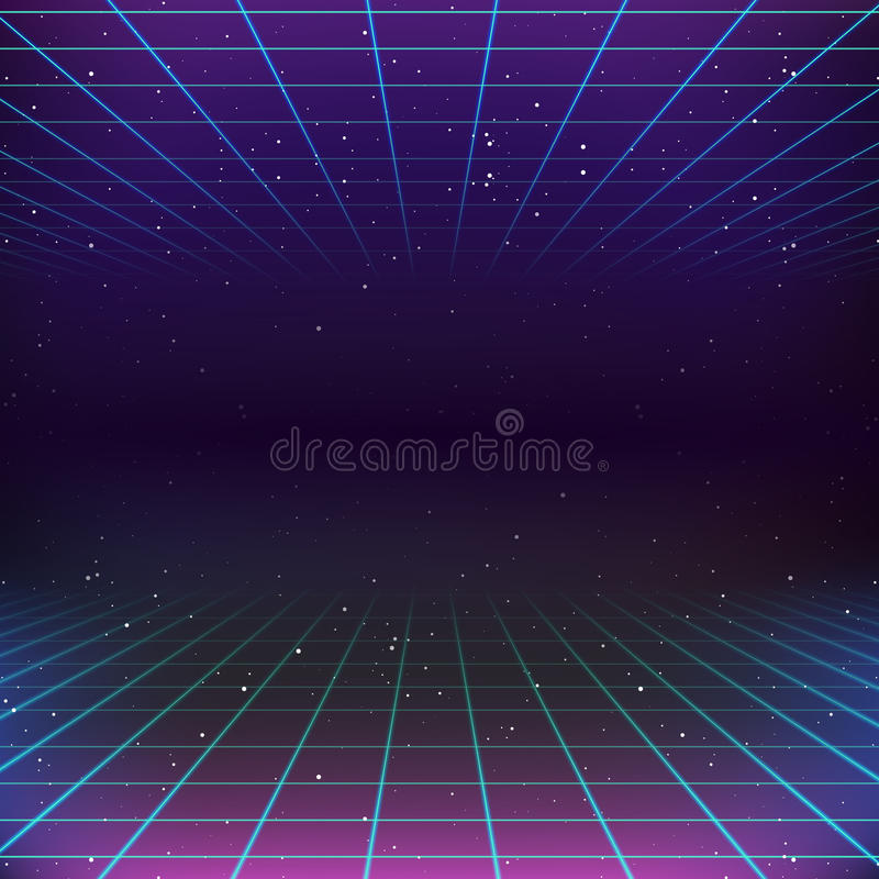 retro fondo di fantascienza 80s illustrazione di stock