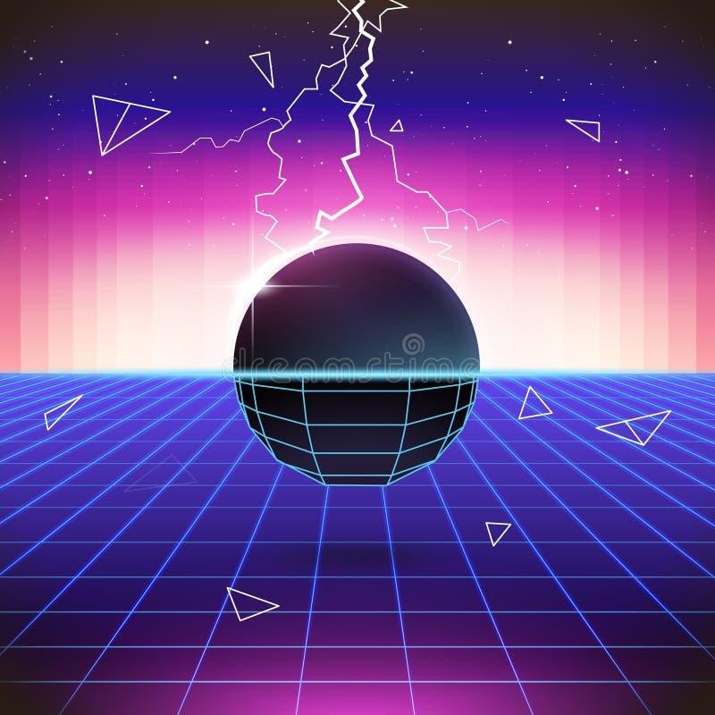retro fondo di fantascienza 80s con gli oggetti 3D illustrazione vettoriale