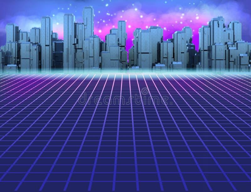 retro fondo di fantascienza 80s con la città futuristica Retro stile dei manifesti dell'illustrazione nel 1980 s dell'onda di Syn royalty illustrazione gratis