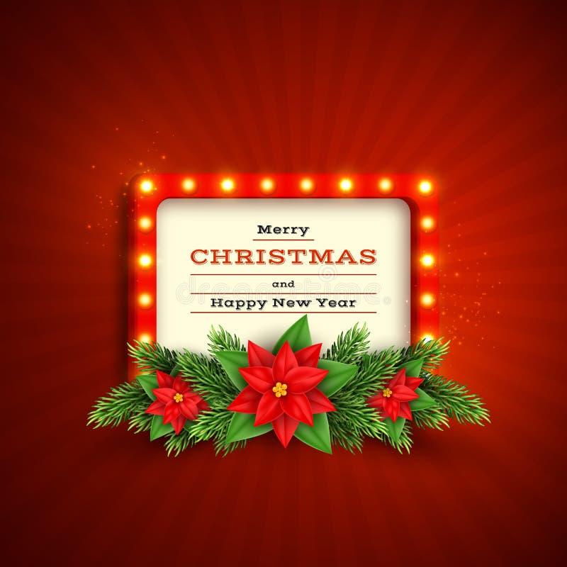 Retro fondo di festa di Natale illustrazione di stock