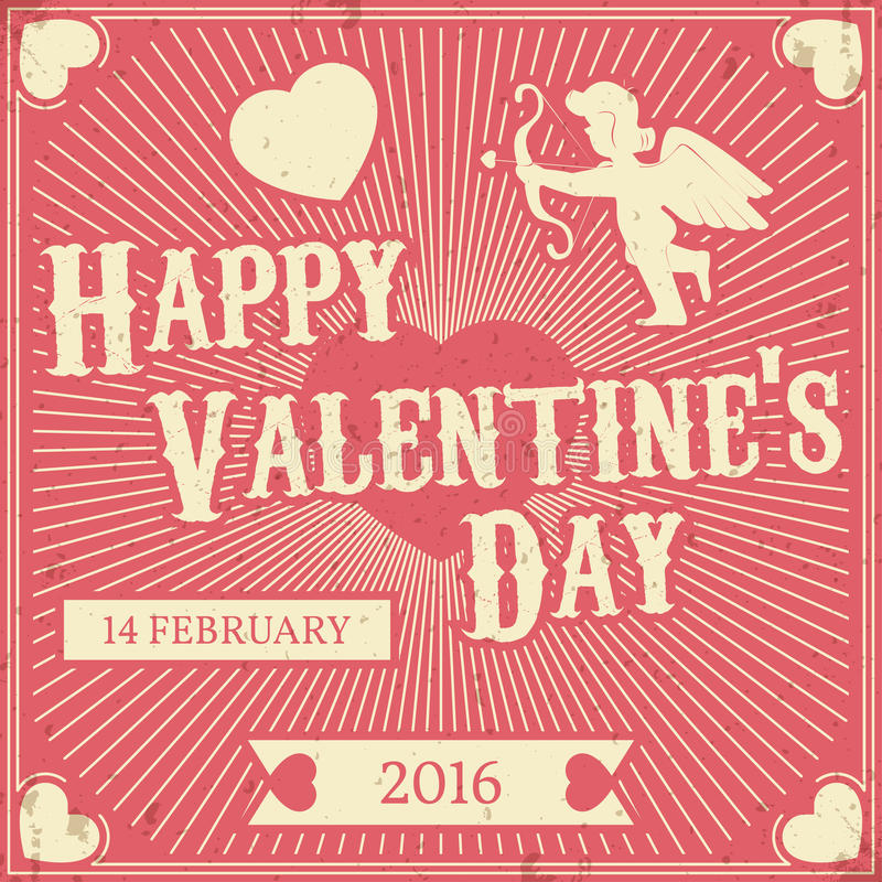 Retro fondo di San Valentino tipografico DES d'annata di vettore illustrazione vettoriale